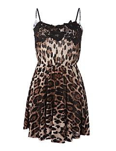 שמלת מיקרו הסקסית של נשים שרוולים אלסטיים (תחרה / תערובות כותנה)