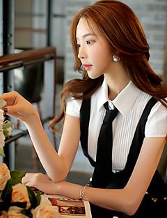 Damen Einfarbig Einfach Arbeit Hemd,Hemdkragen Sommer Kurzarm Weiß Polyester / Elasthan Mittel