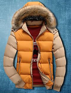 Men's Regular Parka Coat , Polyester Pure Long Sleeve