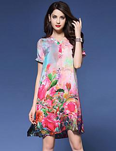 Women's Vintage Print Loose Dress,V Neck Knee-length Silk