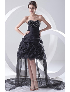 Cocktail Party Dress - Little Black Dress A-line Strapless Asymmetrical Organza with Beading Pleats