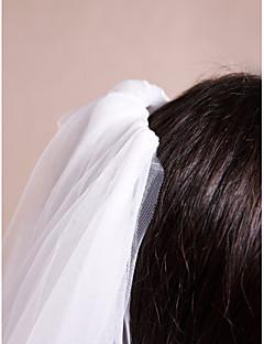 웨딩 면사포 한층 어깨 베일 / 성당 베일 컷 가장자리 / 레이스처리된 가장자리 명주그물 / 레이스 아이보리 아이보리