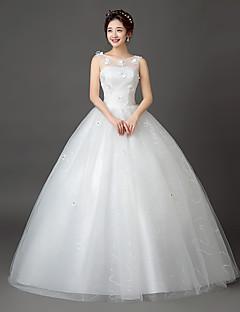 De Baile Vestido de Noiva Longo Decote em U Renda / Cetim / Tule com Com Apliques