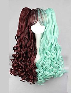 Lolita Wigs Punk Lolita Color Gradient Long Brown / Green Lolita Wig 70 CM Cosplay Wigs Patchwork Wig For Women