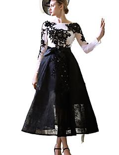 칵테일 파티 드레스 A-라인 보트넥 종아리 길이 레이스 / 튤 와 아플리케 / 비즈 / 리본