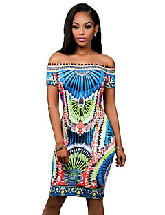 Women's Simple / Street chic Vintage National Style Print Off-The-Shoulder Sheath Dress,Boat Neck Knee-length