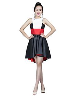 칵테일 파티 드레스 - 블랙 A라인 비대칭 하이넥 태피터