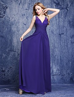 Floor-length Chiffon Bridesmaid Dress A-line V-neck with Beading
