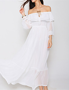 SINCE THEN Women's Sexy / Boho Solid Swing Dress,Boat Neck Maxi Polyester