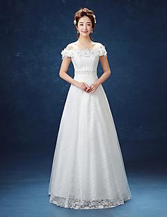 Linha A Vestido de Noiva Longo Ombro a Ombro Renda / Cetim com Com Apliques / Renda