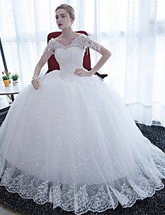 Ball Gown Wedding Dress Floor-length V-neck Satin / Tulle with Lace
