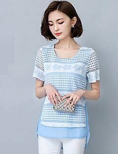 Women's Patchwork Blue / Pink Blouse,Round Neck Short Sleeve