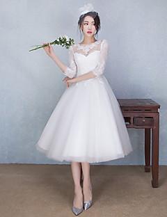 A-vonalú Menyasszonyi ruha Tea-hossz Ékszer Csipke / Tüll val vel Rátétek / Gyöngydíszítés
