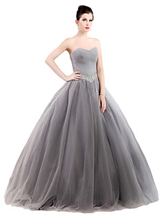 Formal Evening Dress Ball Gown Strapless Floor-length Tulle / Stretch Satin with Crystal Detailing