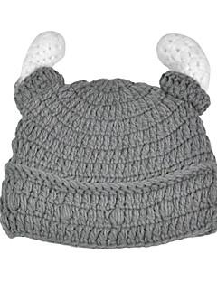 Men Knitwear Hand-knit Gray Wool Pirate Horns Hat