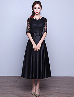 Cocktail Party / Prom Dress A-line Jewel Tea-length Lace / Satin with Sash / Ribbon