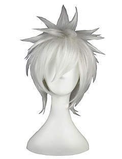 Cosplay Wigs Gintama Gintoki Sakata Silver Short Anime Cosplay Wigs 35 CM Heat Resistant Fiber Male / Female