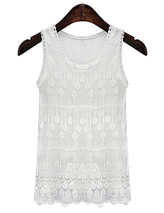 Women's Solid Lace Street chic Simple All Match Slim Fashion Casual Tanks,U Neck Sleeveless