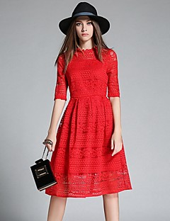 Women's Party/Cocktail Street chic A Line Dress,Jacquard Round Neck Knee-length ½ Length Sleeve Pink / Red / Black Polyester Summer