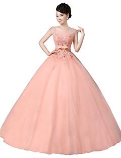 포멀 이브닝 드레스-오렌지 볼 드레스 바닥 길이 스쿱 오간자 / 스트래치 새틴