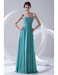 포멀 이브닝 드레스-옥 A-라인 바닥 길이 끈없는 스타일 쉬폰