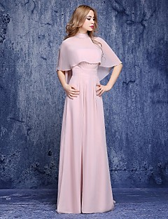 A-line Mother of the Bride Dress - Vintage Inspired Floor-length Half Sleeve Chiffon with Sash / Ribbon