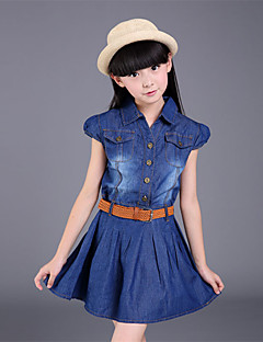 Girl's Casual/Daily Patchwork Dress / Jeans,Cotton / Polyester All Seasons Blue