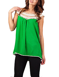Women's Patchwork White / Black / Green / Orange T-shirt,Round Neck Sleeveless Race Randomly