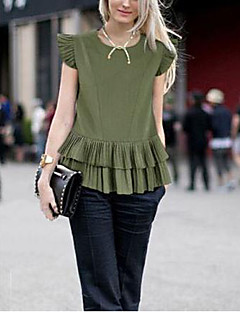 Women's Casual/Daily Simple T-shirt,Solid Round Neck Short Sleeve White / Green Linen Thin