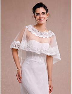 Women's Wrap Capelets Sleeveless Lace / Tulle Ivory Wedding / Party/Evening / Casual Scoop Lace Pullover