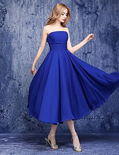 A-Line Strapless Ankle Length Chiffon Bridesmaid Dress with Sash / Ribbon