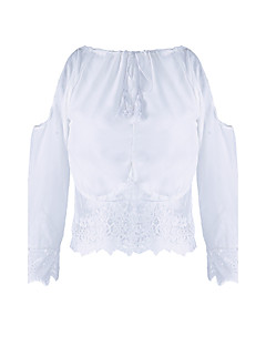 T-shirt-Obuwie damskie-Jendolity kolor-Poliester / Koronka / Mieszanka bawełny-Długi rękaw-Okrągły dekolt