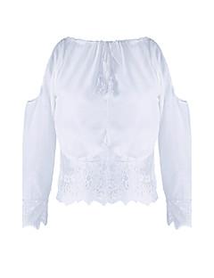 De las mujeres Sexy Noche Verano Camiseta,Escote Redondo Un Color Manga Larga Poliéster Blanco / Negro Fino