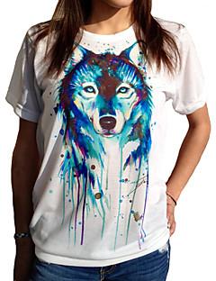 Tryck Kortärmad T-shirt Kvinnors Rund hals Bomull / Polyester