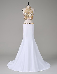 Formal Evening Dress - Two Pieces Trumpet / Mermaid High Neck Court Train Taffeta with Beading