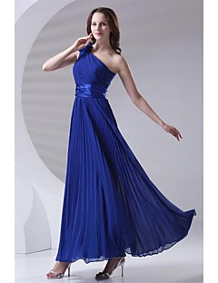 Ankle-length Chiffon Bridesmaid Dress - A-line One Shoulder with Draping / Flower(s) / Pleats
