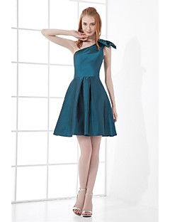 Short / Mini Taffeta Bridesmaid Dress A-line One Shoulder with Bow(s)