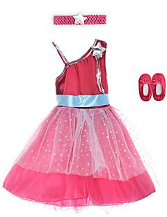 Performance Dresses Children's Performance Spandex / Polyester Sash/Ribbon 2 Pieces Burgundy Performance Sleeveless HighDress /