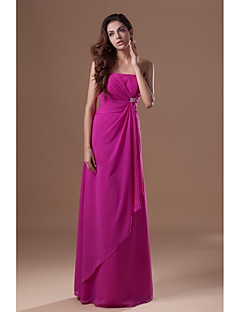 Floor-length Chiffon Bridesmaid Dress A-line Strapless with Crystal Detailing / Side Draping
