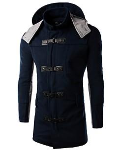 Gestreept-Informeel-Heren-Katoen-Trenchcoat-Lange mouw Blauw
