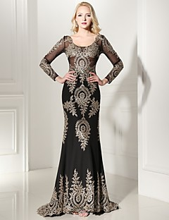 Formal Evening Dress Trumpet / Mermaid V-neck Sweep / Brush Train Jersey with Appliques / Lace
