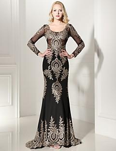 Formeller Abend Kleid Trompete / Meerjungfrau V-Ausschnitt Pinsel Schleppe Jersey mit Applikationen / Spitze
