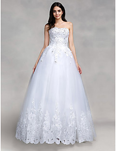 Ball Gown Wedding Dress Floor-length Sweetheart Tulle with Appliques / Sequin