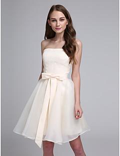 Knie-Länge Chiffon Brautjungfernkleid - Elegant / Zuschnüren A-Linie Herzausschnitt mit Schleife(n)