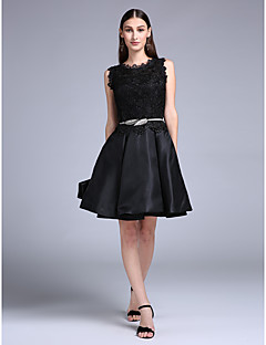 Cocktail Party Dress Ball Gown Jewel Short / Mini Lace / Charmeuse with Lace / Sash / Ribbon