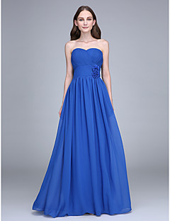 Floor-length Chiffon Bridesmaid Dress Sheath / Column Strapless with Flower(s) / Criss Cross