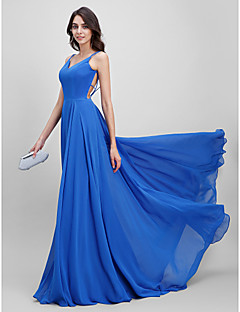 A-Line Spaghetti Straps Sweep / Brush Train Chiffon Prom Formal Evening Dress with Pleats by TS Couture®