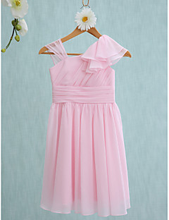 2017 Lanting Bride® Knee-length Junior Bridesmaid Dress Sheath / Column Straps with Ruffles / Side Draping