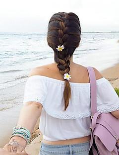Uden ærmer Skulderfri Tynd Dame Hvid Ensfarvet Sommer Sexet I-byen-tøj Bluse,Bomuld