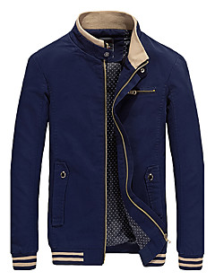Men's Casual / Casual/Daily Simple / Chinoiserie Jackets,Solid Long Sleeve Winter / Autumn Blue / Red / Black / Yellow Cotton / Polyester